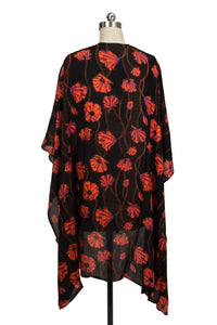 Poppy Field High-Low Kimono