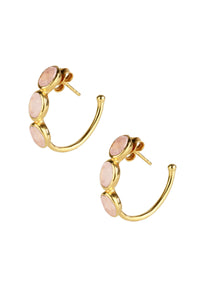 Triple Rose Quartz Hoop Earrin