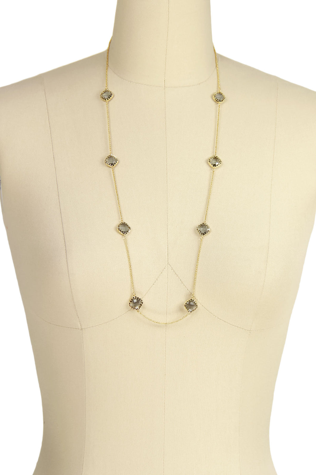 Light Smoke Gold Drop Necklace