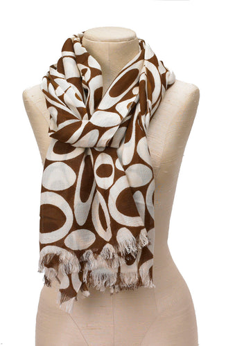 Brown and white hoop scarf w/