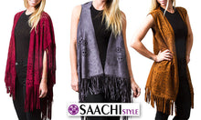 Load image into Gallery viewer, Suede Fringe Poncho