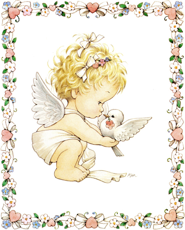 ANGEL WITH DOVE - CATHOLIC PRINTS PICTURES