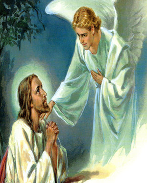 Angel comforts Jesus N - CATHOLIC PRINTS PICTURES