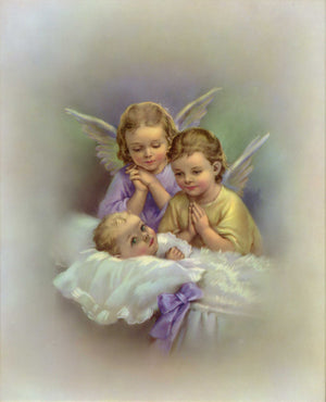 ANGEL WITH BABY - CATHOLIC PRINTS PICTURES