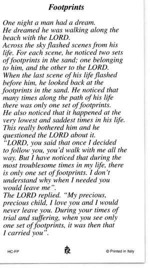 FOOTPRINTS- LAMINATED HOLY CARDS- QUANTITY 25 PRAYER CARDS