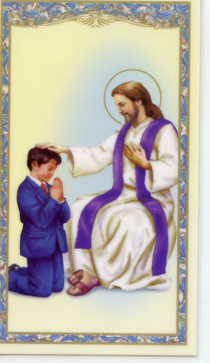 ACT OF CONTRITION BOY- LAMINATED HOLY CARDS- QUANTITY 25 PRAYER CARDS