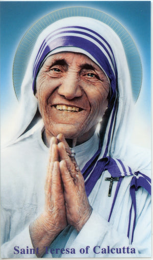 ST. TERESA OF CALCUTTA - LAMINATED HOLY CARDS- QUANTITY 25 CARDS