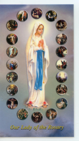 OUR LADY OF THE ROSARY- MYSTERIES OF THE ROSARY- LAMINATED HOLY CARDS- QUANTITY 25 PRAYER CARDS