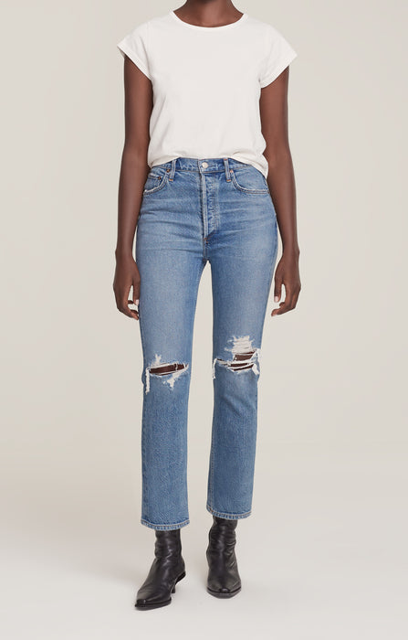 Riley High Rise Straight Cropped Jeans