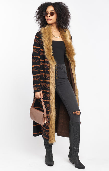 Langston Cheetah Cardigan with Faux Fur Trim