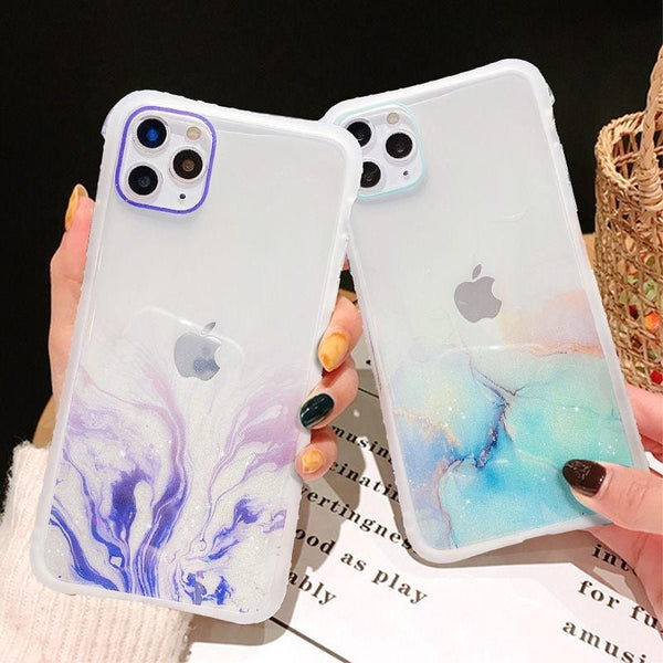 Gradient Marble Glitter Phone Case For iPhone