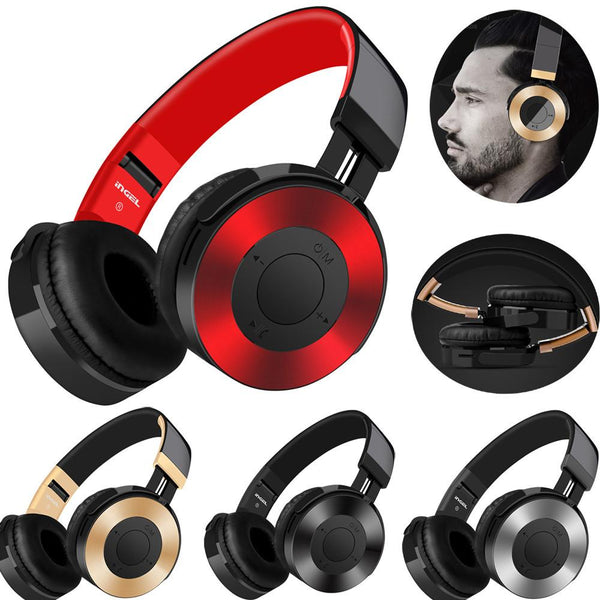 Bluetooth Headphones Over Ear Hi-Fi Stereo Wireless Headset With Mic TF Card FM