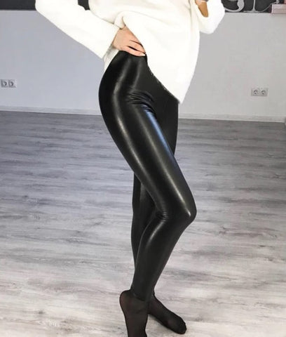 Elastic High Waist Black Leggings black with white shirt