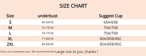 Best High Impact Padded Sports Bra size chart