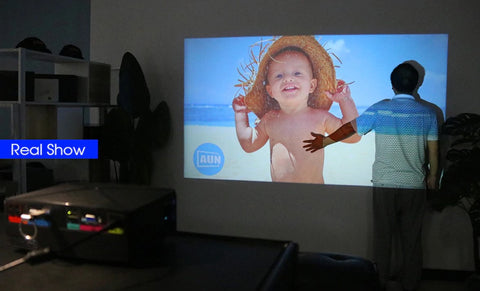 Mini Home Theater HD LED Projector real test screen
