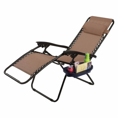 Modern Folding Outdoor Lounge Chair brown with magazine and cup