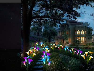 Solar Powered Flower Garden Lights (7 Colors Auto Changing LED Light)