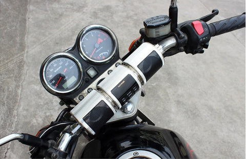 BLUETOOTH MOTORCYCLE HANDLEBAR SPEAKERS STEREO SOUND SYSTEM view in bike
