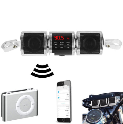 BLUETOOTH MOTORCYCLE HANDLEBAR SPEAKERS STEREO SOUND SYSTEM connectivity