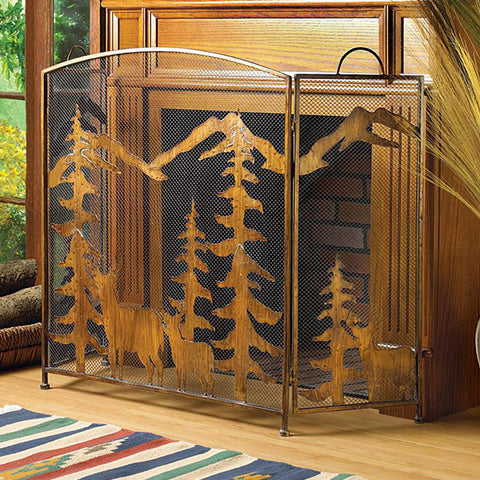 Fireplace Screen Rustic Forest actual view