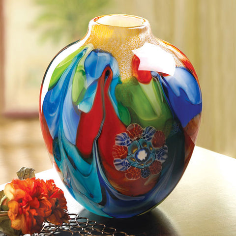 Floral Fantasia Art Glass Vase Surface Lay Tabletop Profile