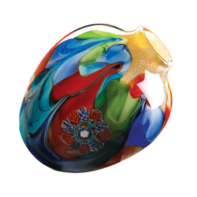 Floral Fantasia Art Glass Vase Visible Lid Isometric Profile