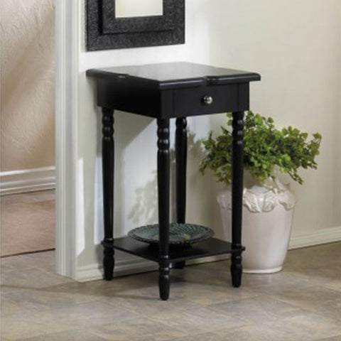 Hampton Black Wood Table Against Wall Isometric Profile