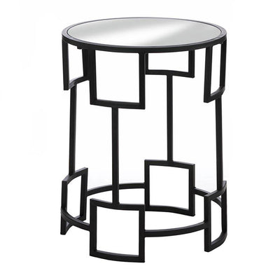 Modern Round Accent Side Table Black Front Profile