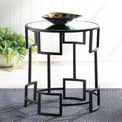 Modern Round Accent Side Table Black Surface Lay Profile