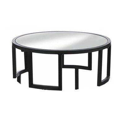 Modern Round Accent Side Table Black Top Detail Profile