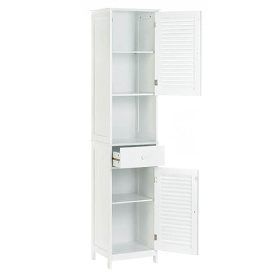 Storage Cabinet with Doors - Tall Nantucket Style White Open Door Profile