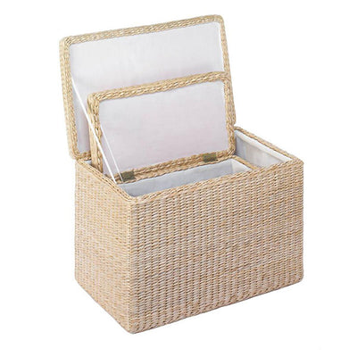 Storage Box Trunk Natural Rush Nesting Chest Inside Open Lid Profile