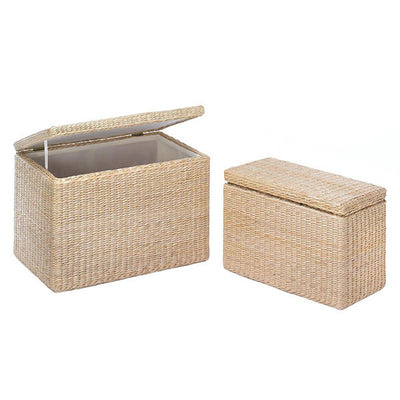 Storage Box Trunk Natural Rush Nesting Chest Front Profile
