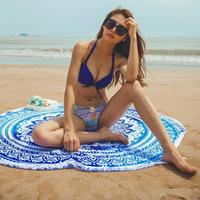 Discounted Beach Blanket Blue Mandala / One Size Beach Blanket & Cover Up