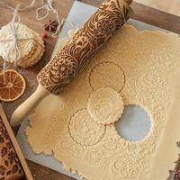 Discounted Christmas Rolling Pin Snowflakes & Swirls Christmas 3D Rolling Pin