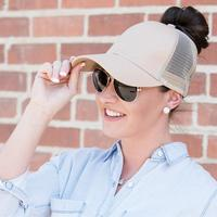 Discounted Ponytail Baseball Cap Beige Ponytail Baseball Cap
