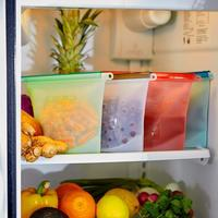 Discounted Reusable Storage Bags 4 Pieces (Blue, Red, Green, White) Reusable Food Storage Bags (FDA Approved Silicone)