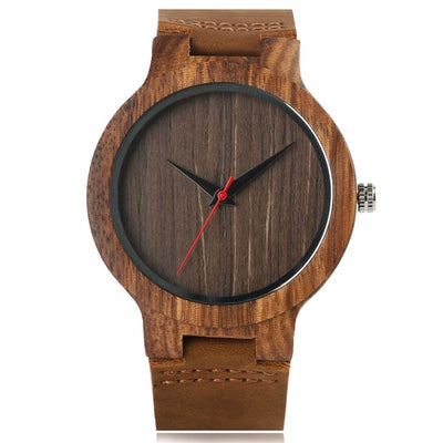 Bamboo Modern Soft Leather Wooden Watches brown strap