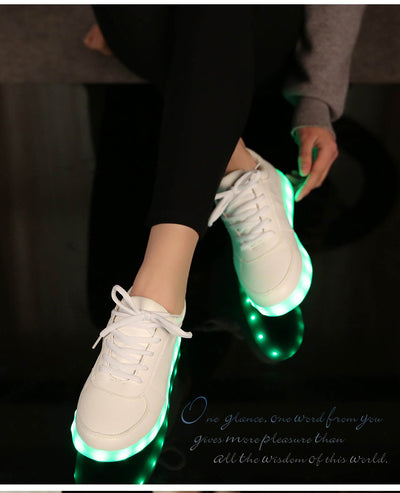 Glow Led Light Up Shoes worn in white shoes