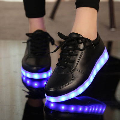 Glow Led Light Up Shoes worn black shoes