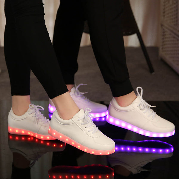 Glow Led Light Up Shoes purple and red