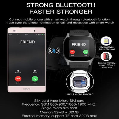 New Bluetooth Smart Watch with Camera Music Player Facebook Whatsapp Sync SMS Support SIM TF Card for Android
