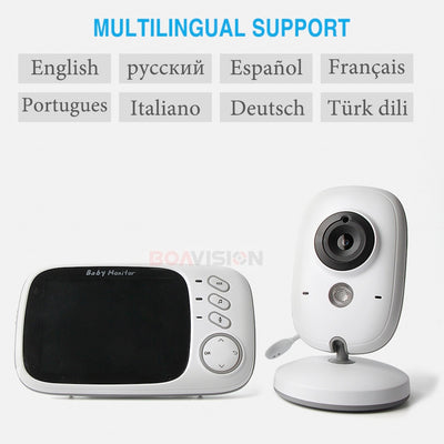 3.2 Inch Wifi Audio Video Baby Monitor multilingual support