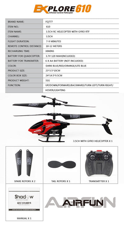 Best Remote Control Electric RC Toy Helicopter- details