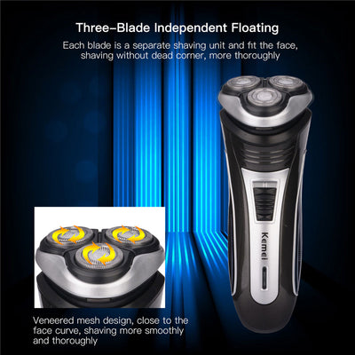 Rechargeable Triple Floating Blade Head Shaver design