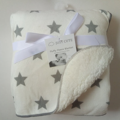 Personalized Fleece Swaddle Receiving Baby Blankets - white