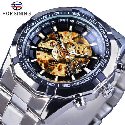 tainless Steel Waterproof Mens Skeleton Watches black white