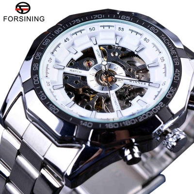 tainless Steel Waterproof Mens Skeleton Watches white silver