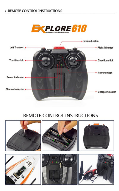 Best Remote Control Electric RC Toy Helicopter controller details