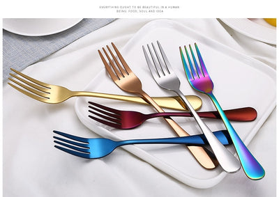 Best Stainless Steel Modern Cutlery Set different color forks